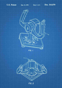 Racing Game Wheel Joystick patent print, Racing Game Wheel Joystick poster in the style blueprint