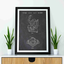 Racing Game Wheel Joystick patent print, Racing Game Wheel Joystick poster in the style chalkboard mocked up in a frame