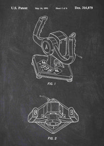 Racing Game Wheel Joystick patent print, Racing Game Wheel Joystick poster in the style chalkboard