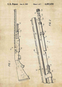 remington shotgun patent print, remington shotgun poster shown in the style vintage