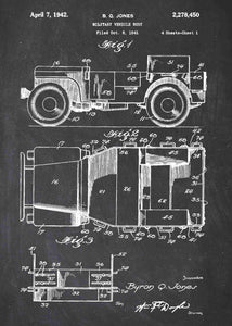 retro military jeep patent print, military jeep poster in the style chalkboard