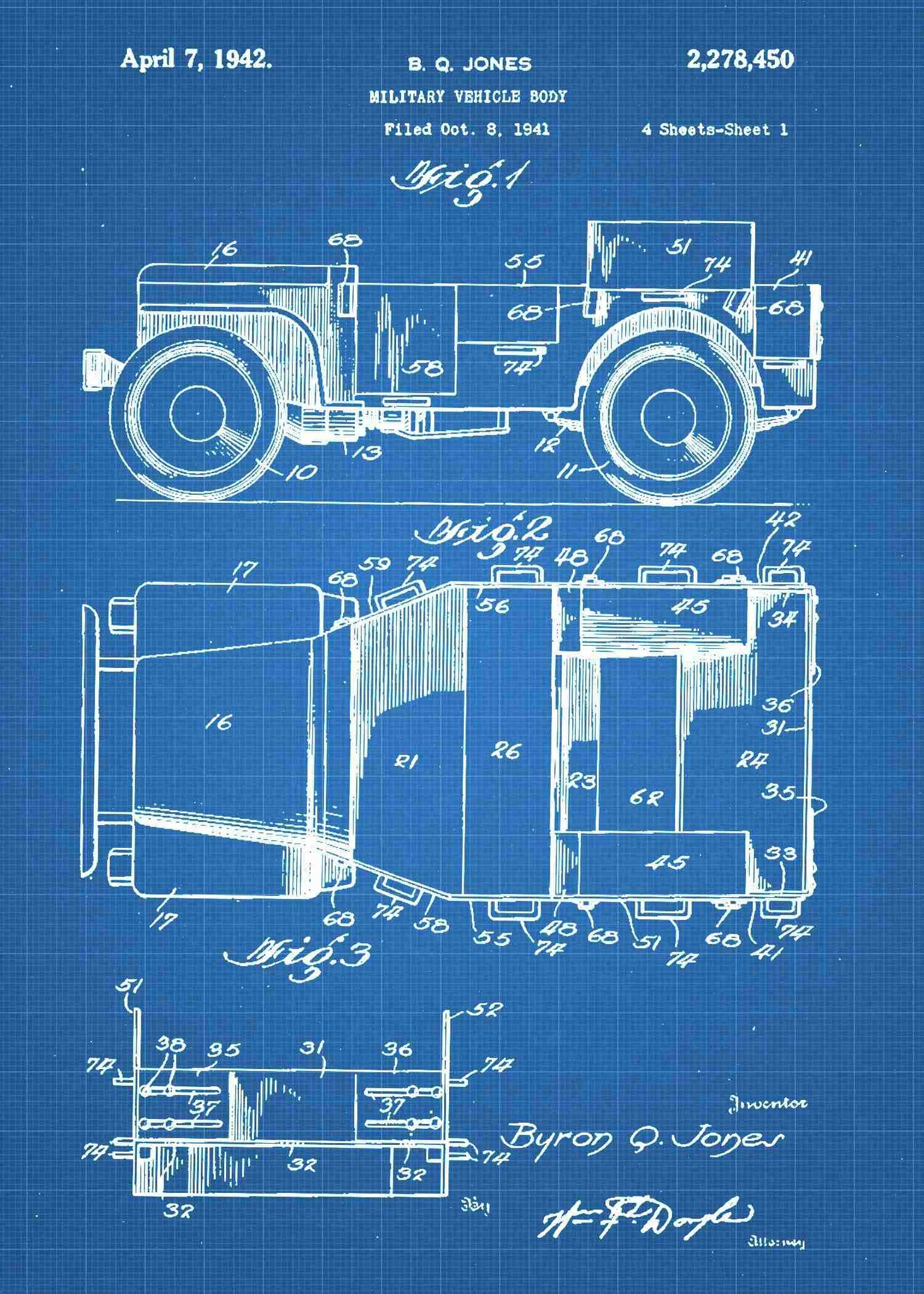 Military Jeep For Sale >> Military Willys M38 Jeep Patent Print - Jeep Poster | Patent Wall Art