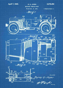 retro military jeep patent print, military jeep poster in the style blueprint