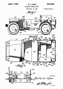 retro military jeep patent print, military jeep poster in the style white