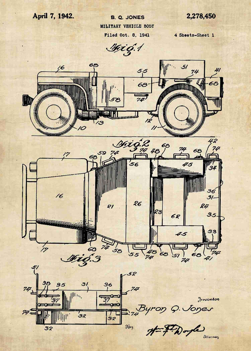 retro military jeep patent print, military jeep poster in the style vintage