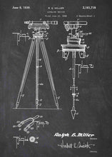 Surveyor's Transit patent print, Surveyor's Transit poster shown in the style chalkboard