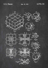 rubiks cube patent print, rubiks cube poster in the style chalkboard