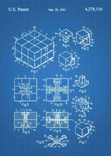 rubiks cube patent print, rubiks cube poster in the style blueprint