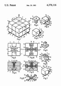 rubiks cube patent print, rubiks cube poster in the style white