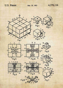 rubiks cube patent print, rubiks cube poster in the style vintage
