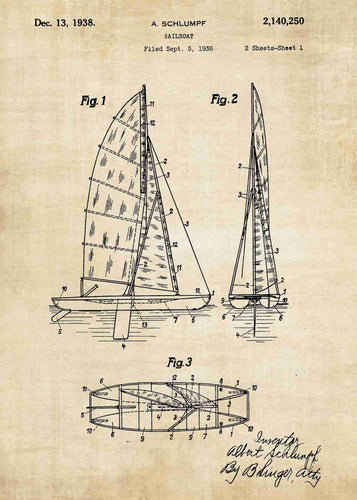 sailboat patent print, sailboat poster shown in the style vintage