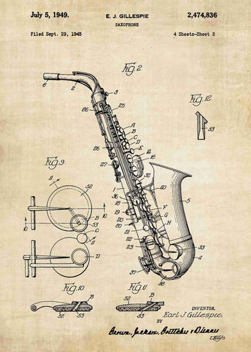 saxophone patent print, saxophone poster shown in the style vintage