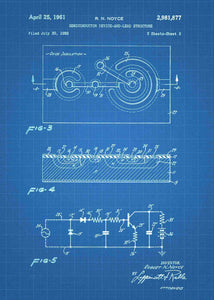 semiconductor patent print, semiconductor poster in the style blueprint