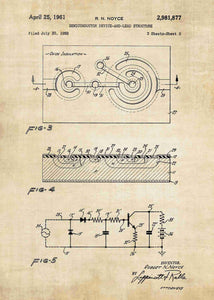 semiconductor patent print, semiconductor poster in the style vintage