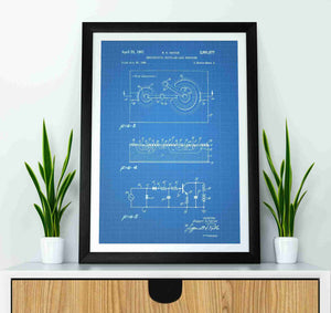 sony walkman patent print, sony walkman poster in the style blueprint mocked up in a frame