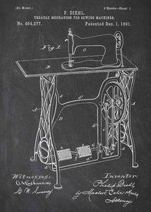 retro sewing machine patent print, sewing poster shown in the style chalkboard