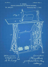 retro sewing machine patent print, sewing poster shown in the style blueprint