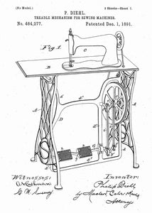 retro sewing machine patent print, sewing poster shown in the style white