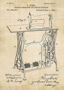 retro sewing machine patent print, sewing poster shown in the style vintage