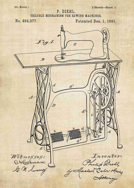 Retro Sewing Machine Patent Print Patent Wall Art Impressive Patent For Sewing Machine