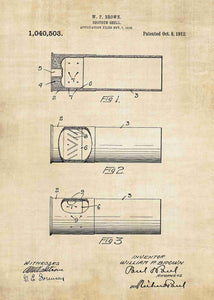 shotgun shell patent print, shotgun shell poster in the style vintage