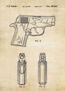 Sig Sauer P220 Pistol patent print, Sig Sauer P220 poster in the style vintage
