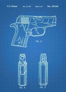 Sig Sauer P220 Pistol patent print, Sig Sauer P220 poster in the style blueprint