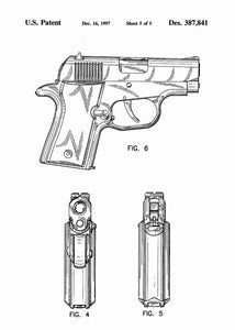 Sig Sauer P220 Pistol patent print, Sig Sauer P220 poster in the style white