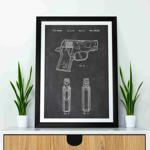 Sig Sauer P220 Pistol patent print, Sig Sauer P220 poster in the style chalkboard mocked up in a frame