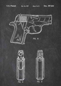 Sig Sauer P220 Pistol patent print, Sig Sauer P220 poster in the style chalkboard