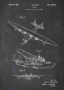 sikorsky seaplane patent print, sikorsky seaplane aviation poster in the style chalkboard