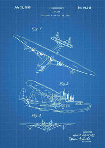 sikorsky seaplane patent print, sikorsky seaplane aviation poster in the style blueprint