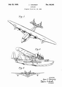sikorsky seaplane patent print, sikorsky seaplane aviation poster in the style white