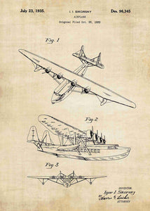 sikorsky seaplane patent print, sikorsky seaplane aviation poster in the style vintage