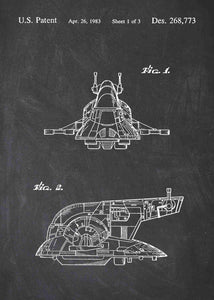 Slave I Ship patent print, Slave I Ship star wars poster in the style chalkboard