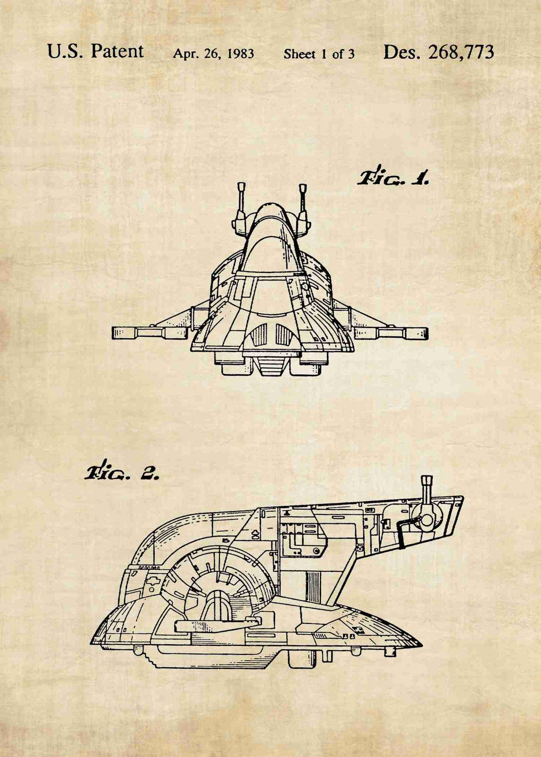 Slave I Ship patent print, Slave I Ship star wars poster in the style vintage