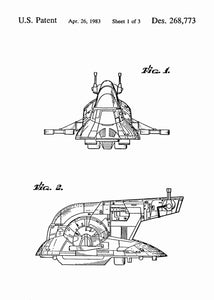 Slave I Ship patent print, Slave I Ship star wars poster in the style white