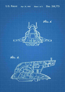 Slave I Ship patent print, Slave I Ship star wars poster in the style blueprint