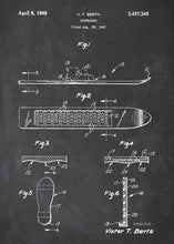 snowboard patent print, snowbording poster in the style of chalkboard