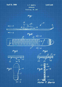 snowboard patent print, snowbording poster in the style of blueprint