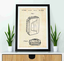 sony walkman patent print, sony walkman poster in the style vintage mockued up in a frame