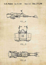 Original speeder bike patent from the first trilogy of the star wars series. This star wars poster is in the style vintage