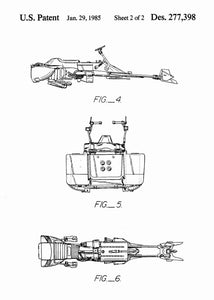 Original speeder bike patent from the first trilogy of the star wars series. This star wars poster is in the style white