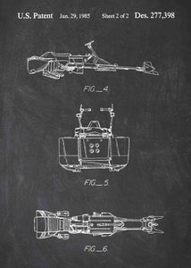 Original speeder bike patent from the first trilogy of the star wars series. This star wars poster is in the style chalkboard
