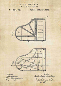steinway piano patent print, piano poster shown in the style vintage