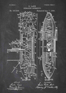 Submarine patent print, submarine poster in the style chalkboard