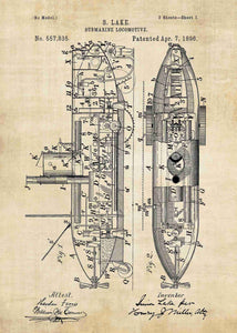 Submarine patent print, submarine poster in the style vintage