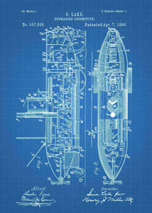 Submarine patent print, submarine poster in the style blueprint