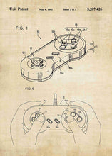 super nintendo NES controller patent print, super nitnendo controller retro gaming poster in the style vintage