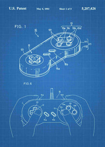 super nintendo NES controller patent print, super nitnendo controller retro gaming poster in the style blueprint
